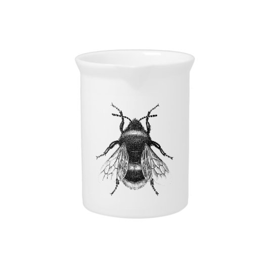 Vintage, Antique Bumble Bee Illustration Pitcher