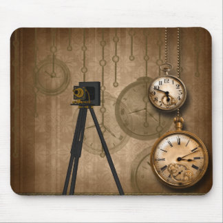 Vintage Antique Camera Chains Clocks Mousepad