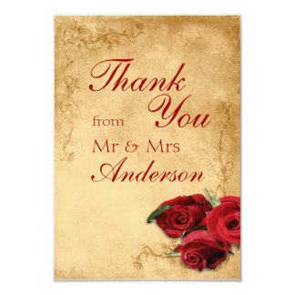 Vintage Antique Caramel Wedding Thank You Card 9 Cm X 13 Cm Invitation Card