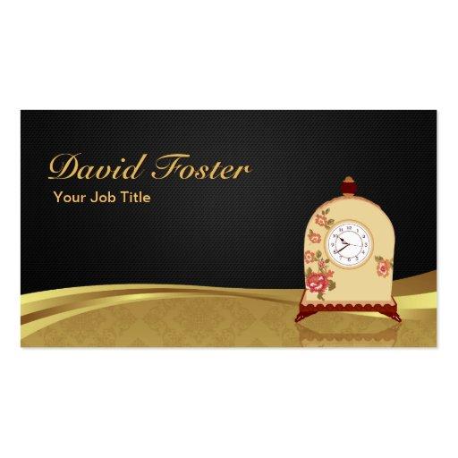 Vintage Antique Clock - Elegant Black Gold Damask Business Card Templates