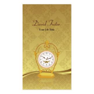 Vintage Antique Clock - Elegant Damask Gold Leaf Pack Of Standard Business Cards