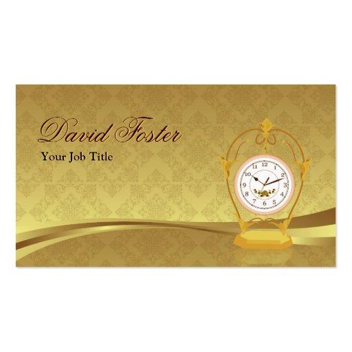 Vintage Antique Clock - Elegant Damask Gold Leaf Business Cards
