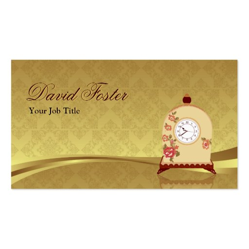 Vintage Antique Clock - Elegant Damask Gold Leaf Business Card