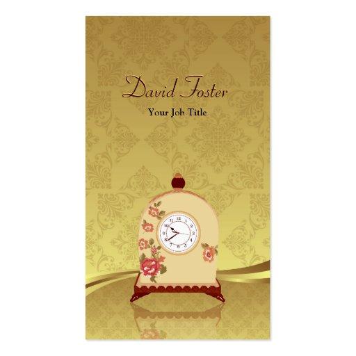 Vintage Antique Clock - Elegant Gold Leaf Damask Business Cards
