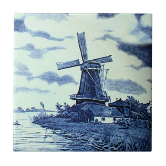 Vintage Antique Delft Blue Tile - Windmill