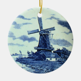 Vintage Antique Delft Blue Tile - Windmill Christmas Ornament