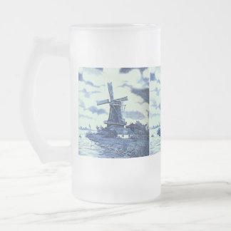 Vintage Antique Delft Blue Tile - Windmill Frosted Glass Beer Mug