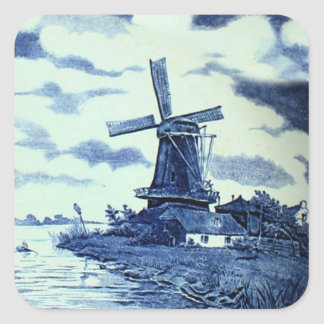 Vintage Antique Delft Blue Tile - Windmill Square Sticker