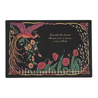 Vintage/Antique-Design Art Nouveau Black Placemat Laminated Placemat