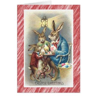 Vintage Antique Easter Card Dressed Rabbit Eggs