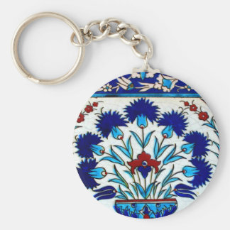 Vintage Antique Floral Abstract Turkish tiles Basic Round Button Key Ring