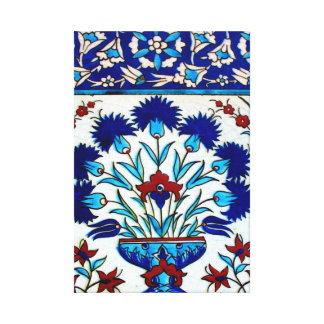 Vintage Antique Floral Abstract Turkish tiles Canvas Print