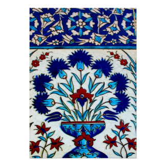 Vintage Antique Floral Abstract Turkish tiles Poster