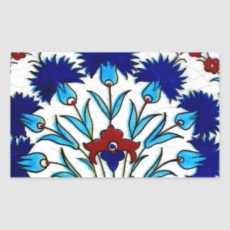 Vintage Antique Floral Abstract Turkish tiles Rectangular Sticker
