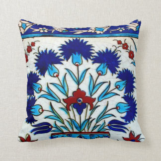 Vintage Antique Floral Abstract Turkish tiles Throw Pillow