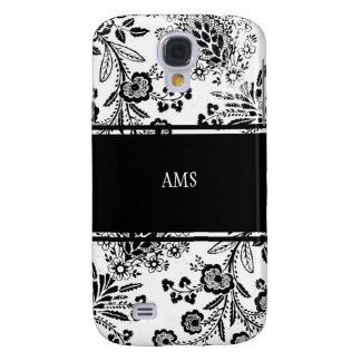 Vintage Antique Floral Custom Monogram Black White Samsung Galaxy S4 Covers