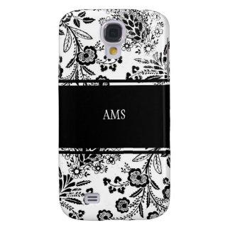 Vintage Antique Floral Custom Monogram Black White Samsung Galaxy S4 Covers