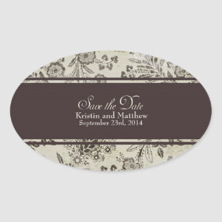 "Vintage Antique Floral Save the Date - ""Cambridge"" Oval Stickers"