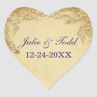 Vintage Antique Floral Wedding Heart Sticker