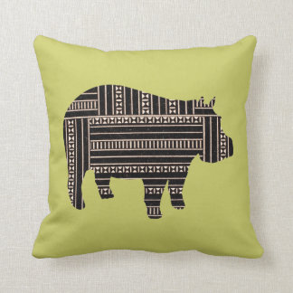 Vintage Antique Hippo Ethnic Pattern Tribal Cushion