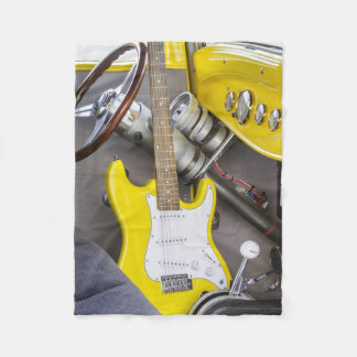 Vintage Antique Hot Rod and Yellow Guitar Fleece Blanket