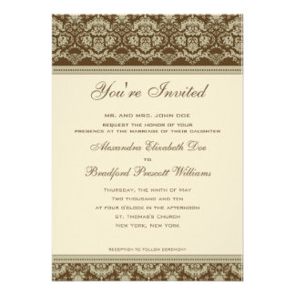 Vintage Antique Lace Wedding Invitation sepia