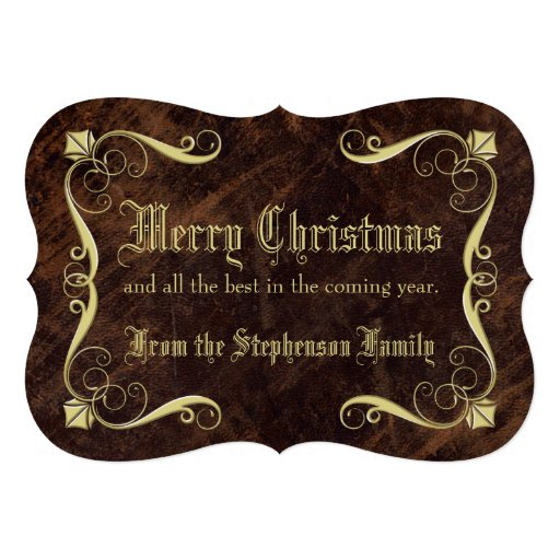 Vintage Antique Leather-look Christmas Greeting Personalized Invitation