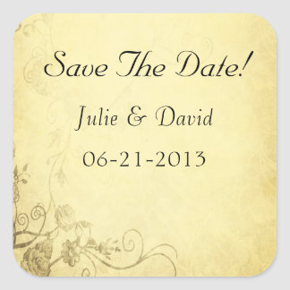 Vintage Antique Look Wedding Save The Date Sticker