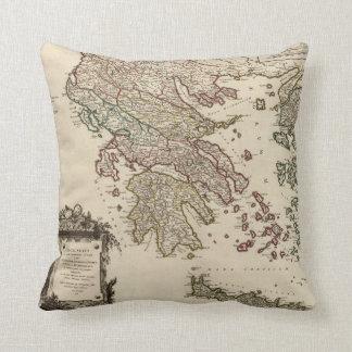 Vintage Antique Map of Ancient Greece Graecia Vetu Cushion