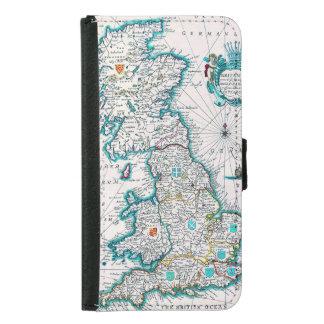 Vintage Antique Map of Britannia Samsung Galaxy S5 Wallet Case