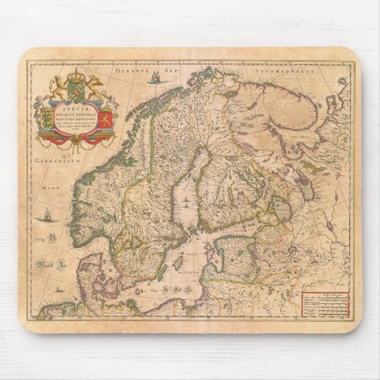 Vintage Antique Map of Old Scandinavia Mouse Mat