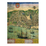 Vintage Antique Map; Town Plan of Lisbon, 1598