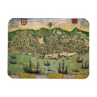 Vintage Antique Map; Town Plan of Lisbon, 1598 Rectangular Magnet