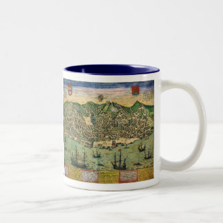 Vintage Antique Map; Town Plan of Lisbon, 1598 Two-Tone Coffee Mug