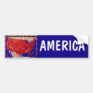 Vintage Antique Map United States of America, USA Bumper Sticker