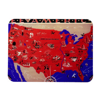 Vintage Antique Map United States of America, USA Rectangle Magnet