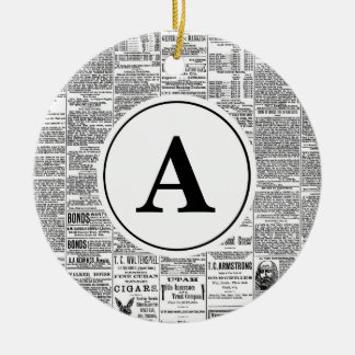 Vintage Antique Newspaper Monogram Christmas Ornament