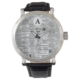 Vintage Antique Newspaper Monogram Watch