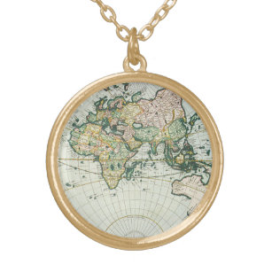 Vintage world map necklaces lockets zazzle vintage antique old world map 1666 by pieter goos gold plated necklace freerunsca Gallery