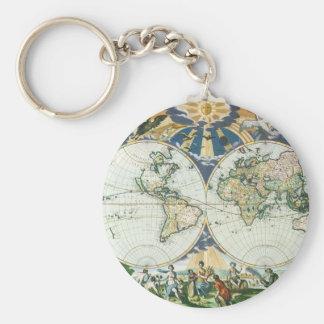 Vintage Antique Old World Map, 1666 by Pieter Goos Key Ring