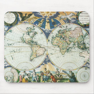 Vintage Antique Old World Map, 1666 by Pieter Goos Mouse Mat