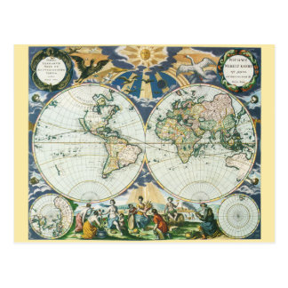 Vintage Antique Old World Map, 1666 by Pieter Goos Postcard