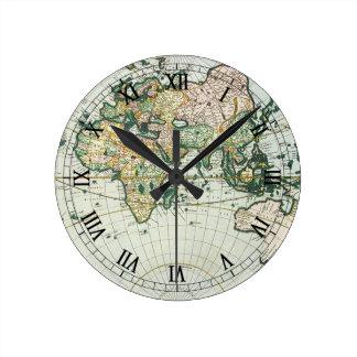 Vintage Antique Old World Map, 1666 by Pieter Goos Round Clock