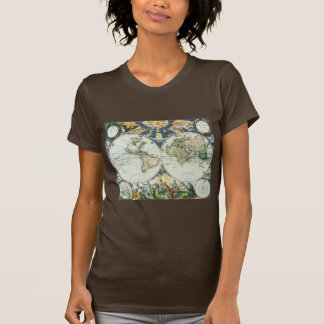 Vintage Antique Old World Map, 1666 by Pieter Goos T-shirt