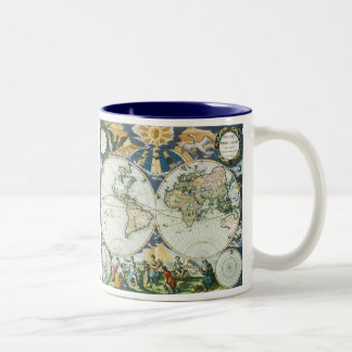 Vintage Antique Old World Map, 1666 by Pieter Goos Two-Tone Mug