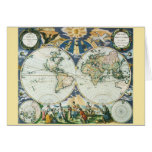 Vintage Antique Old World Map by Pieter Goos, 1666 Greeting Cards