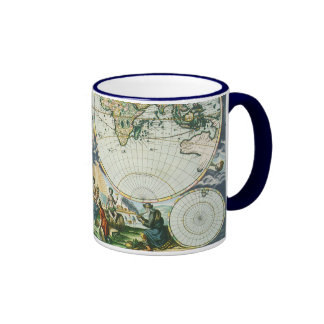Vintage Antique Old World Map by Pieter Goos, 1666 Ringer Coffee Mug