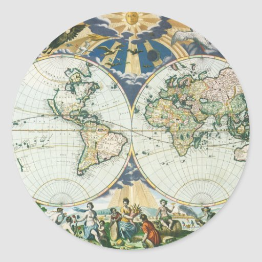 Vintage Antique Old World Map by Pieter Goos, 1666 Round Stickers