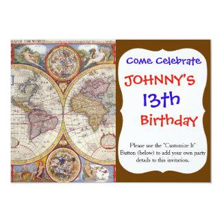 Vintage Antique Old World Map cartography 13 Cm X 18 Cm Invitation Card