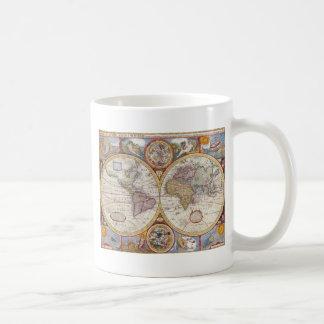 Vintage Antique Old World Map cartography Basic White Mug